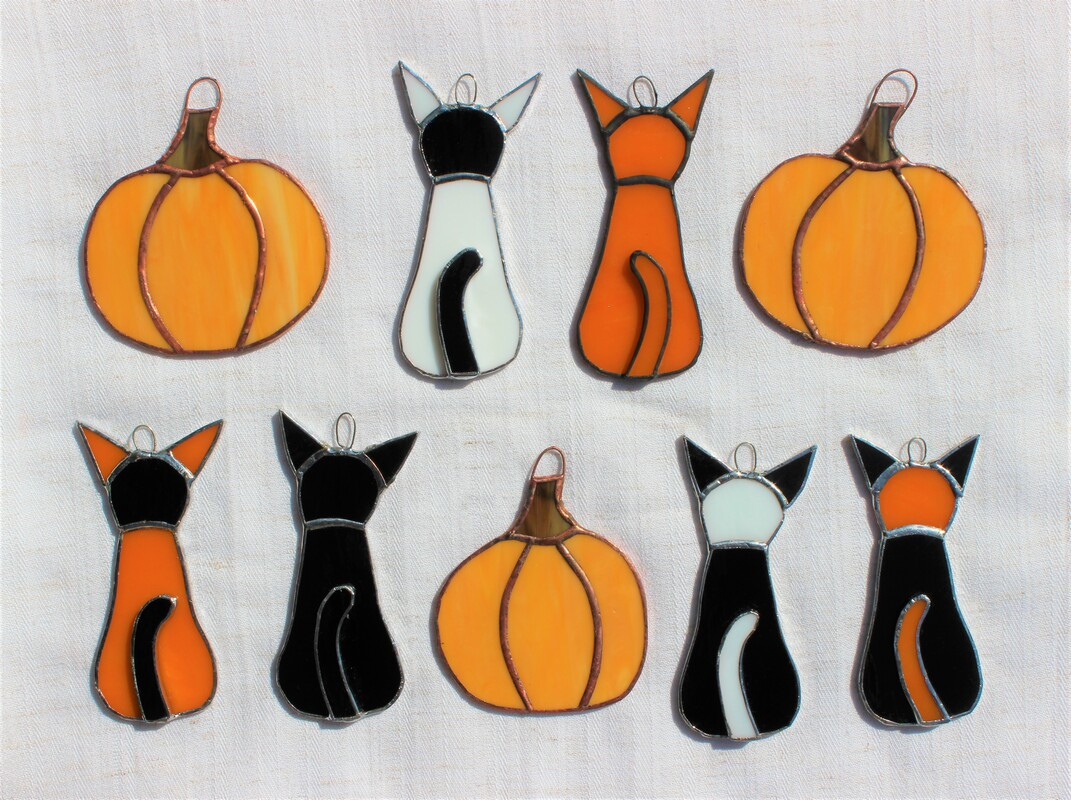 Pumpkins and Halloween cats