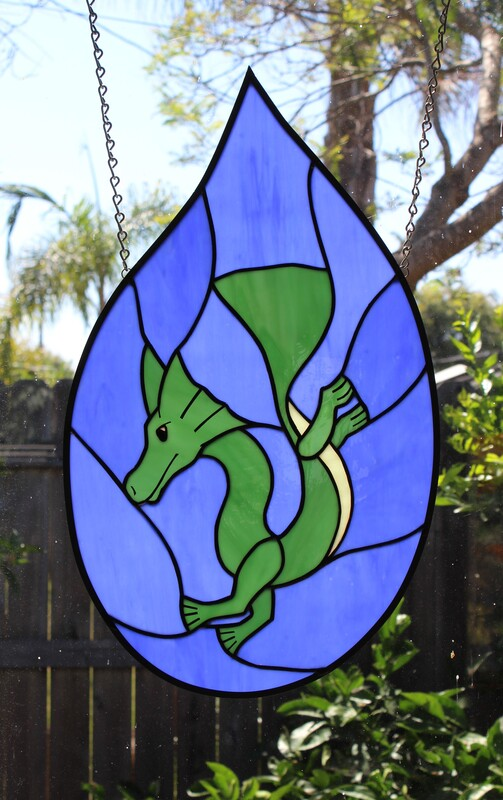 Young sea dragon in a droplet, stained glass